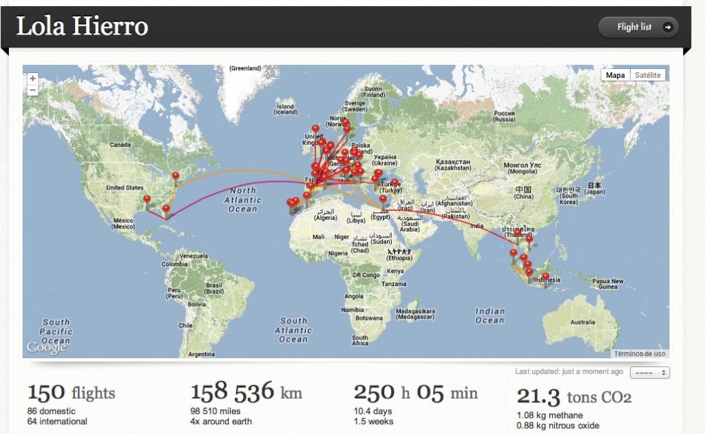 Mapa de mis desplazamientos por el mundo.